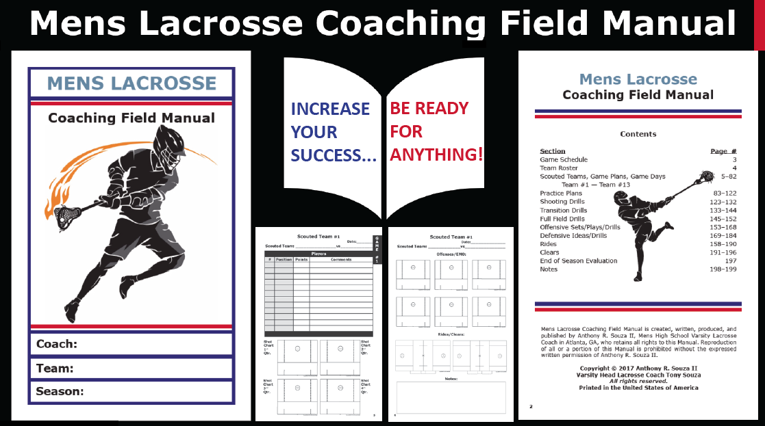 Mens Lacrosse Coaching Field Manual - 200 Pages